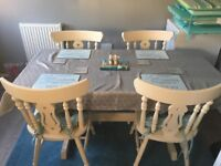 Shabby chic 5ft table and chairs