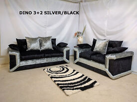 UK EXPRESS DELIVERY | DINO CRUSHED VELVET 3+2 OR CORNER SOFA + FREE FOOTSTOOL | 1 YEAR WARRANTY