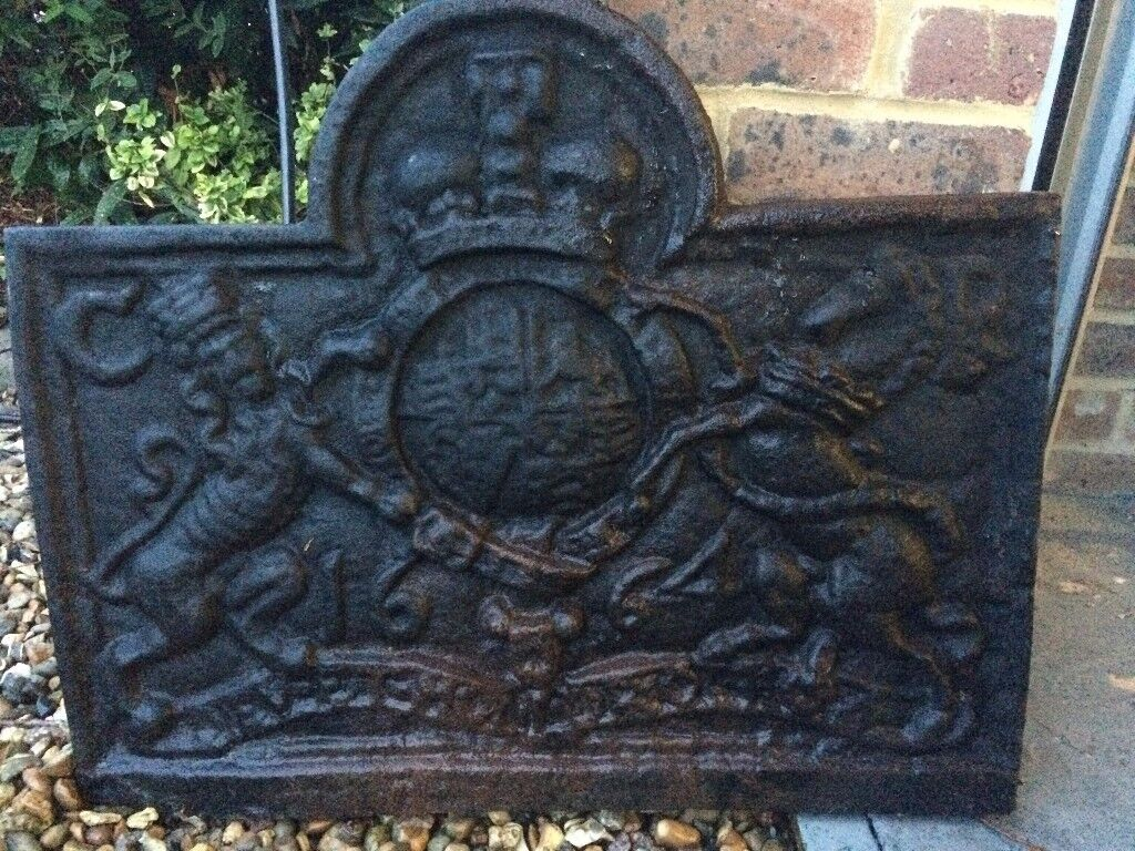 Cast Iron Fire Bac, Grate and Dogs, see photo for grate , Good condition