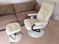Reclining massage chair with heating function and foot stool
