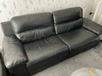 Sofology - Black Leather 2 Seater & 3 Seater Sofas