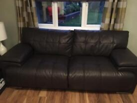 3 seater and 2 seater dark brown leather couches