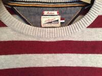 Mens Tommy Hilfiger Denim Round Neck Grey & Maroon Striped Designer Jumper. Cheap For Quick Sale!