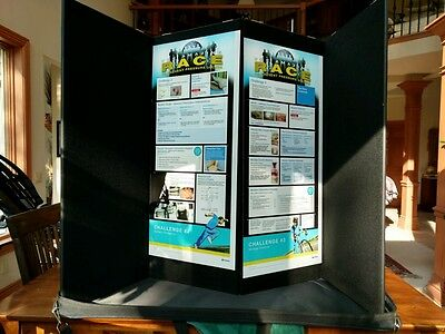 Pactiva Tabletop Table Top Trade Show Conference Display - 4 Panel 14x35 Black