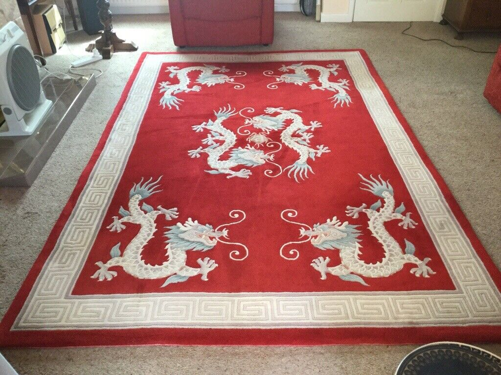 Very Large Red Dragon Rug 9ft X 6 Ft