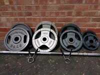 OLYMPIC CAST IRON 100KG WEIGHTS SET WITH BAR