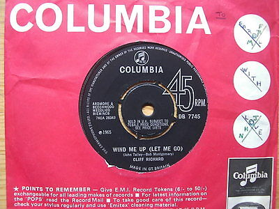 """7"""" SINGLE - WIND ME UP (LET ME GO) - CLIFF RICHARD - FROM 1965 - GOOD CONDITION"""