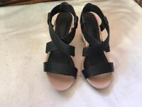 Ladies Next Black Wedge Sandals- Size 4/37 Used One Time £5