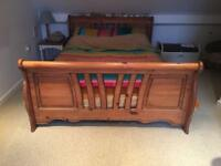 Solid pine kingsize sleigh bed