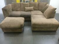 Ribbed L shape sofa + footstool •free delivery