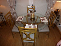 table + 4 chairs gold trim