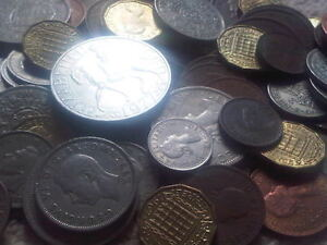 25-Old-English-Coins-Farthing-shilling-penny-florin-halfcrown-crown-Sixpence