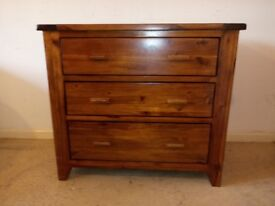 Large Solid Oak Chest of 3 Drawers