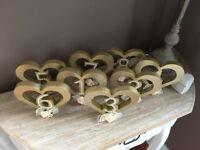 Beautiful wooden/ pear /gold wedding table numbers vintage /country style