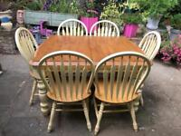 Extending shabby chic dining table and 6 farmhouse chairs