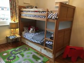 Beautiful solid ash Feather and Black Bunk Bed