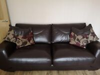 Large Chocolate Brown Leather Sofa by The Sofa Company