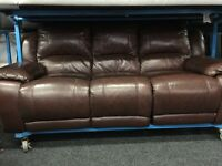 New / Ex Display LazyBoy Brown Leather 3 Seater Recliner