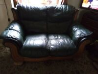 Green leather 2 seater.