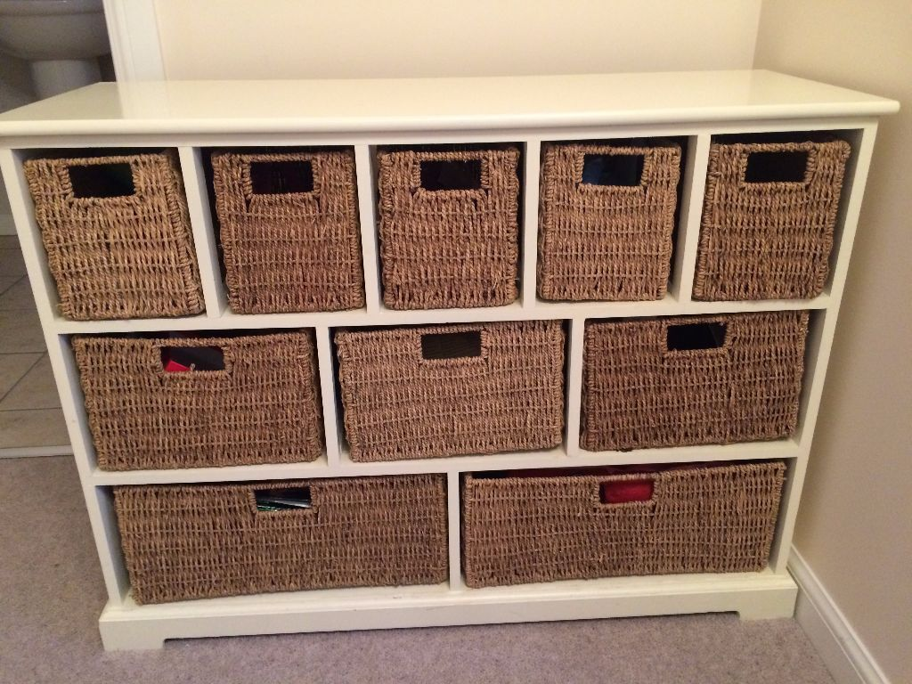 10 drawer sideboard with rattan baskets in ivory cottage for Sideboard rattan