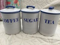 Blue & White kitchen canisters