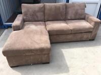 Nutmeg cord left hand corner sofa bed (New ex display)