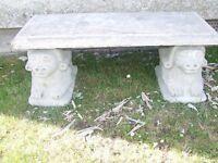 unusual stone garden bench seat