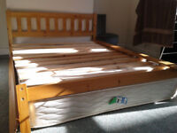 Kingsize (5ft) pine bedframe in good condition , collection only, plus memory foam mattress,