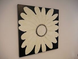 Hand painted Textured flower Canvas