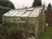 Aluminium greenhouse approx 12ft x 8 ft