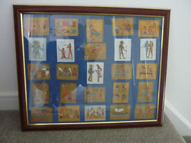 1928 original Cavenders Ancient Egypt Cigarette Cards, gold and silver finish in frame
