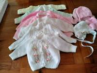Girls hand knitted cardigans 0-3