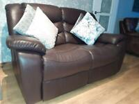 Brown Leather 2-seater recliner sofa