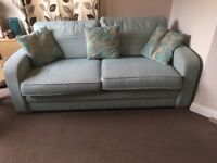 Large 3 seater sofa in light blue