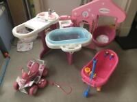 Smoby Baby Nurse Station, Baby Born Quad and Zapf Bath Doll Toys