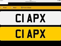 Cherished Private Reg C1 APX (CIA? CLAP? C1 APeX? Etc worth £1250