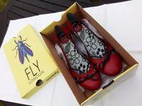 Fly London Women's 7 40 Lonni Red rubi (black) Leather shoe sandal £35.00