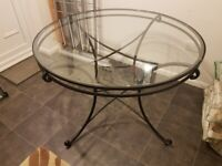 Iron with glass top dining table - NO CHAIRS!!!