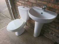Basin and toilet set