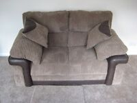 2 Brand New 2 Seater Sofas - Mocha/Brown + Matching Cushions