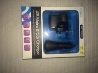 USB Mains & Car Charger x4
