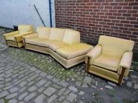 SOFA ORIGNAL G PLAN STYLISH VINTAGE RETRO 60s 70s THREE PIECE SUITE GOLD DRAYLON TEAK CAN DELIVER