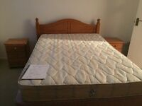 Pine Double Bed with Mattress in Excellent Condition