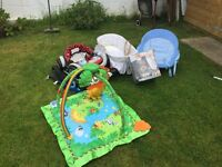 play mat,bouncy chair,sterilising unit and Moses basket