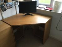 John Lewis Abacus oak veneer corner desk.