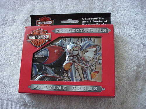 HARLEY DAVIDSON COLLECTIBLE TIN WITH 2 DECKS OF PLAYING  CARDS