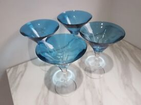 4 x Blue Waterford Crystal Martini Glasses