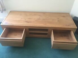 SOLID OAK T. V. STAND AND STORAGE