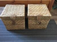 Wicker storage boxes x2