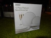 Unused 12 Piece Dinner Service, White with Platinum Band - Tesco